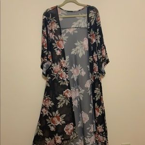 Black Floral Mesh Kimono